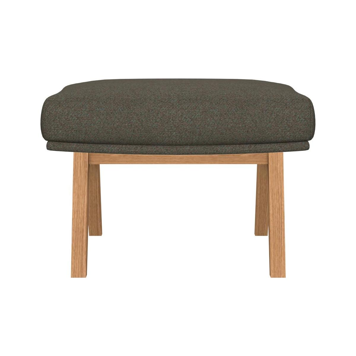 Footstool in Lecce fabric, slade grey with oak legs n°3