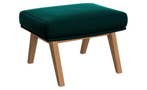 Footstool in Super Velvet fabric, petrol blue with oak legs