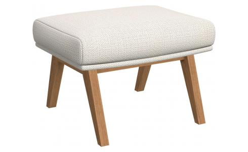 Footstool in Fasoli fabric, snow white with oak legs