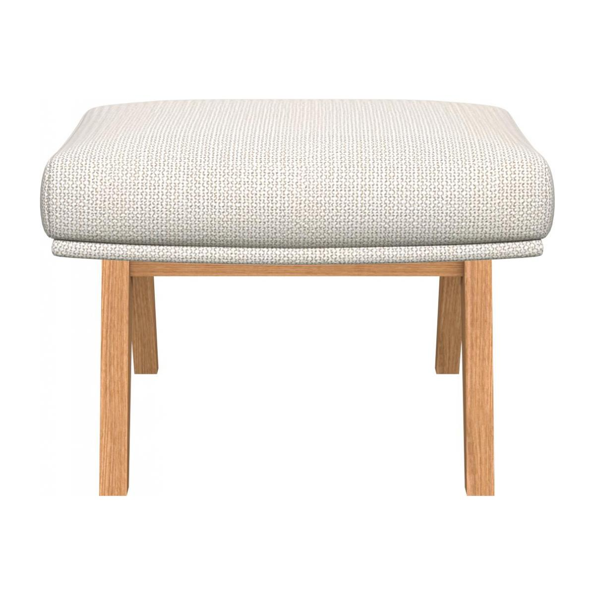 Footstool in Fasoli fabric, snow white with oak legs n°2
