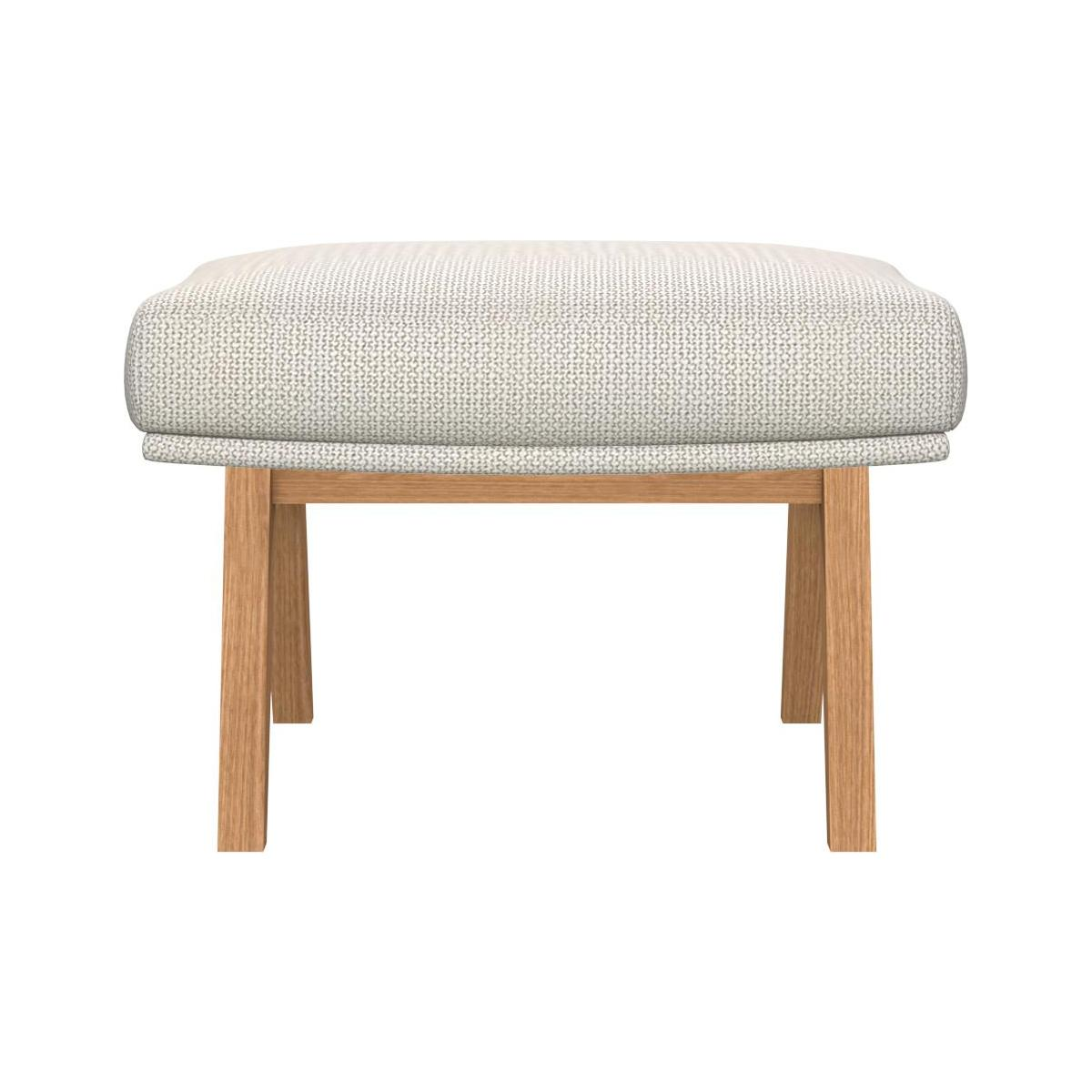 Footstool in Fasoli fabric, snow white with oak legs n°3
