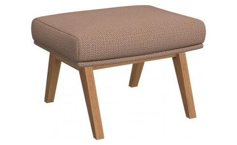 Footstool in Fasoli fabric, Jatoba brown with oak legs