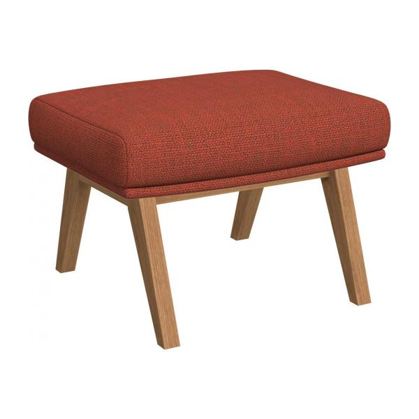 Footstool in Fasoli fabric, warm red rock with oak legs