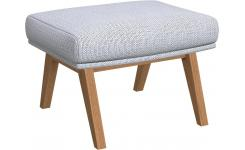 Footstool in Fasoli fabric, grey sky with oak legs