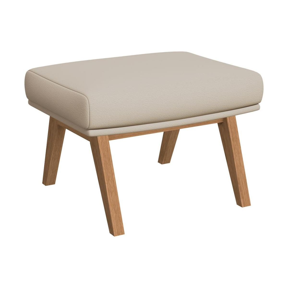 Footstool in Savoy semi-aniline leather, off white with oak legs n°1
