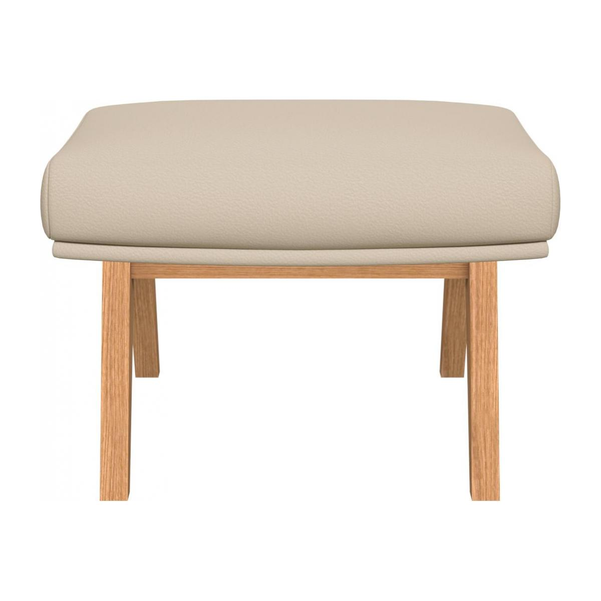 Footstool in Savoy semi-aniline leather, off white with oak legs n°2