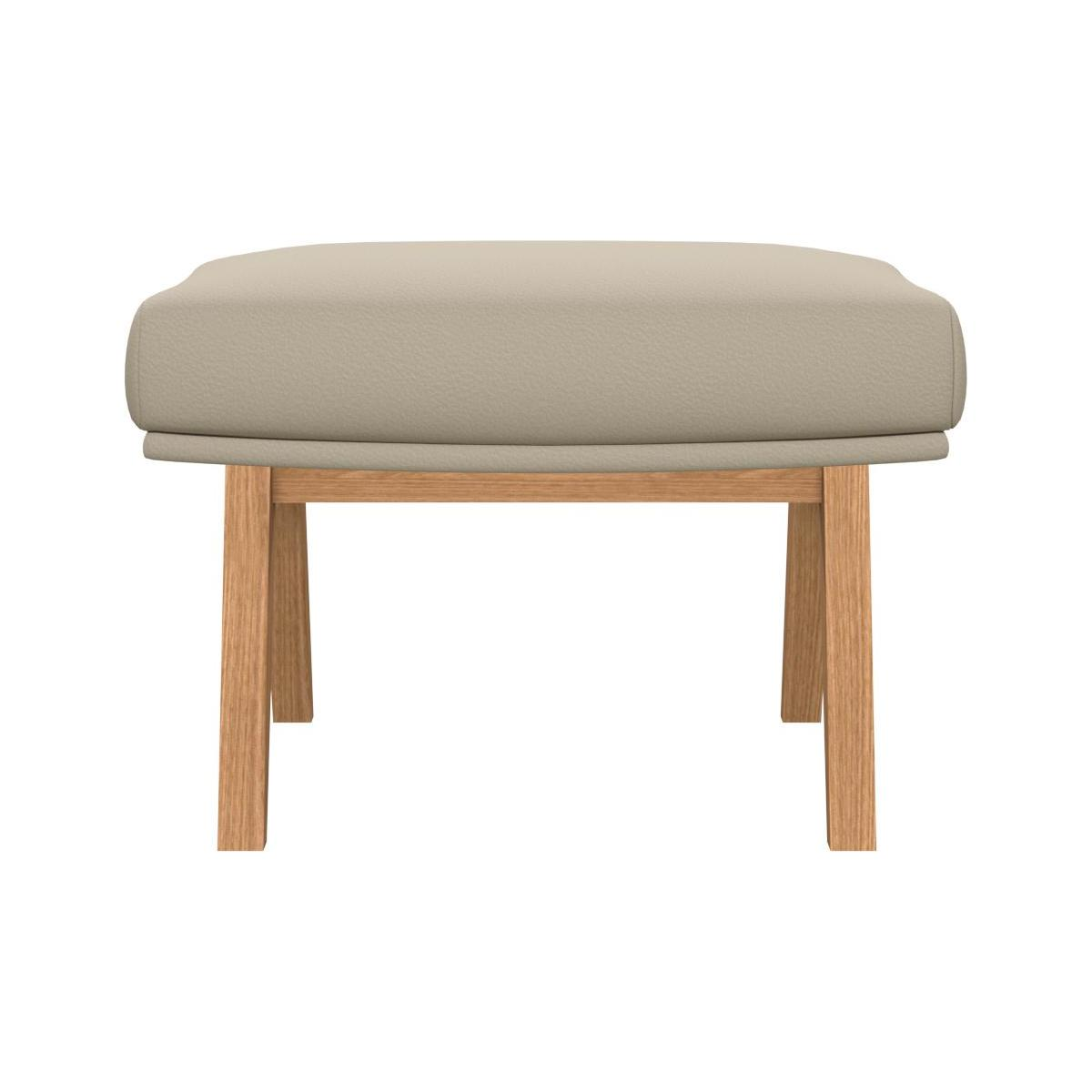 Footstool in Savoy semi-aniline leather, off white with oak legs n°3