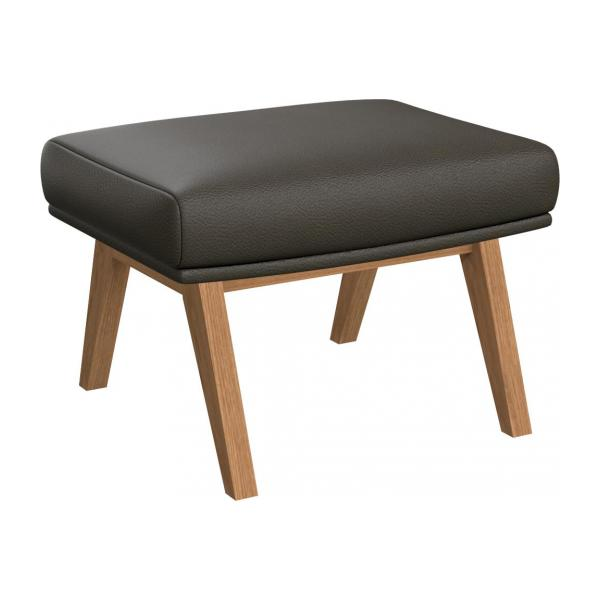 Footstool in Savoy semi-aniline leather, grey with oak legs