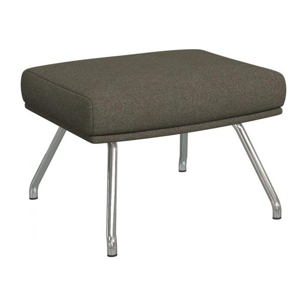 Footstool in Lecce fabric, slade grey with chromed metal legs