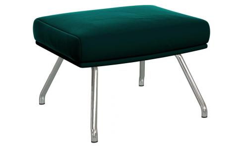 Footstool in Super Velvet fabric, petrol blue with chromed metal legs