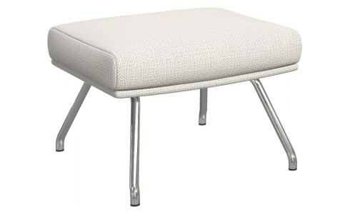 Footstool in Fasoli fabric, snow white with chromed metal legs
