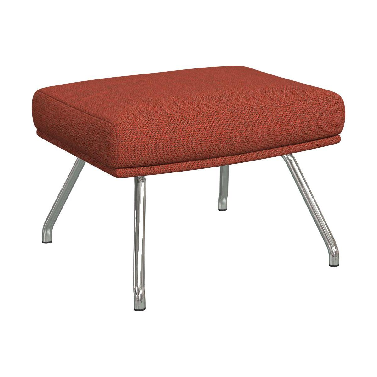 Footstool in Fasoli fabric, warm red rock with chromed metal legs n°1