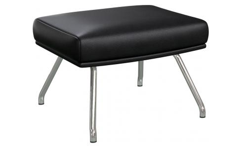Footstool in Savoy semi-aniline leather, platin black with chromed metal legs