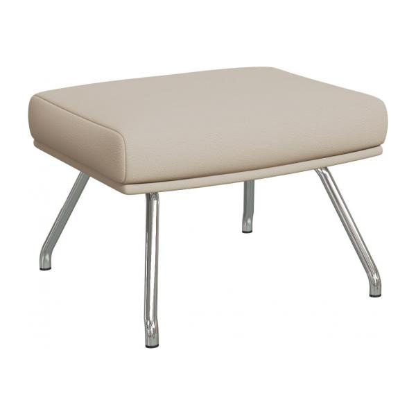 Footstool in Savoy semi-aniline leather, off white with chromed metal legs