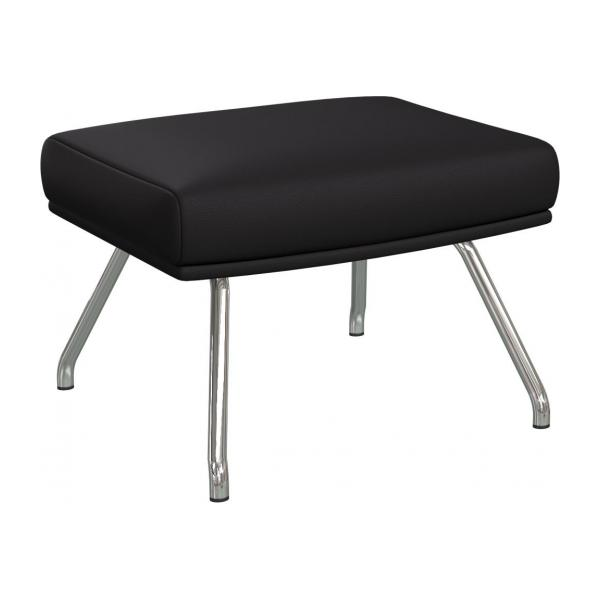 Footstool in Eton veined leather, black with chromed metal legs