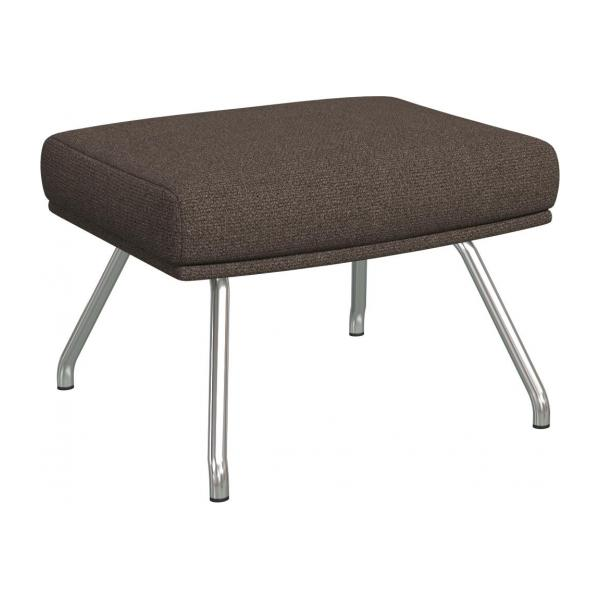 Footstool in Lecce fabric, muscat with matt metal legs