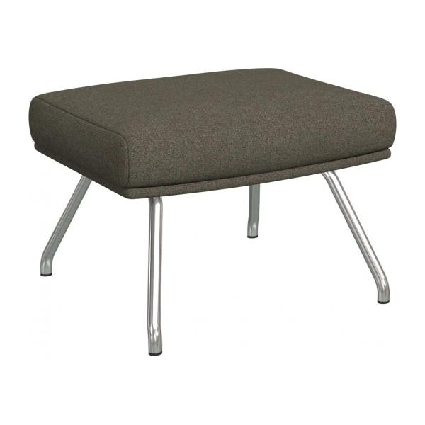 Footstool in Lecce fabric, slade grey with matt metal legs
