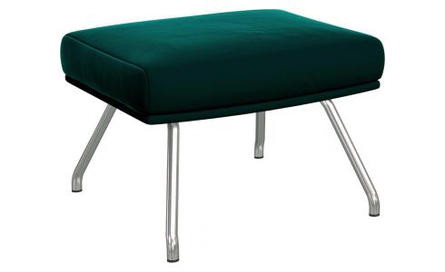 Footstool in Super Velvet fabric, petrol blue with matt metal legs