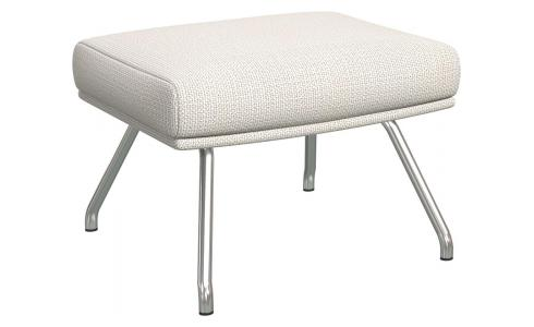 Footstool in Fasoli fabric, snow white with matt metal legs