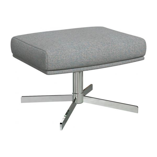 Footstool in Lecce fabric, blue reef with metal cross leg