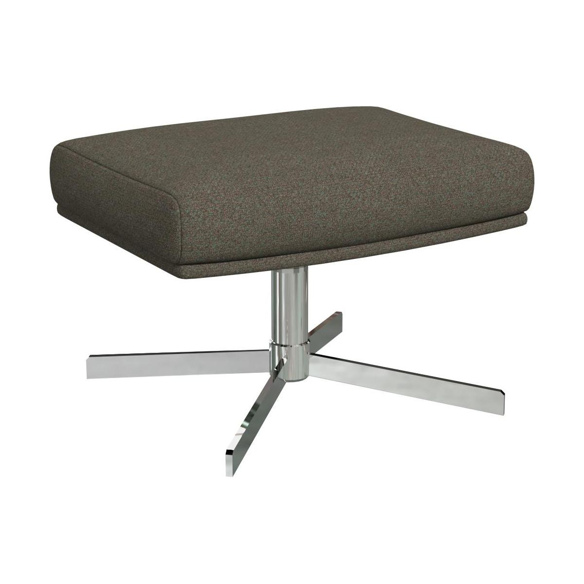 Footstool in Lecce fabric, slade grey with metal cross leg n°1