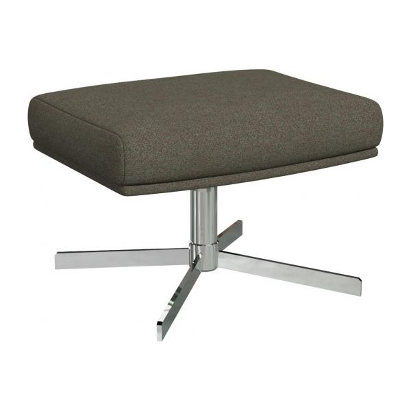 Footstool in Lecce fabric, slade grey with metal cross leg
