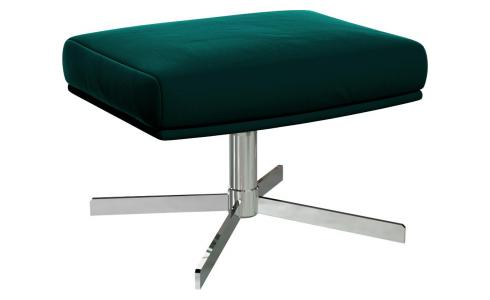 Footstool in Super Velvet fabric, petrol blue with metal cross leg