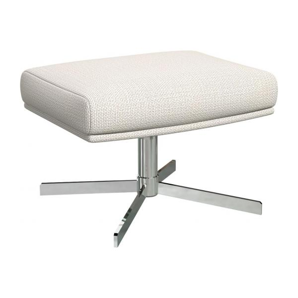 Footstool in Fasoli fabric, snow white with metal cross leg