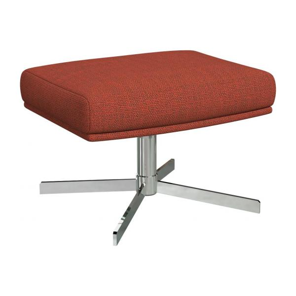 Footstool in Fasoli fabric, warm red rock with metal cross leg