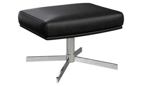 Footstool in Savoy semi-aniline leather, platin black with metal cross leg