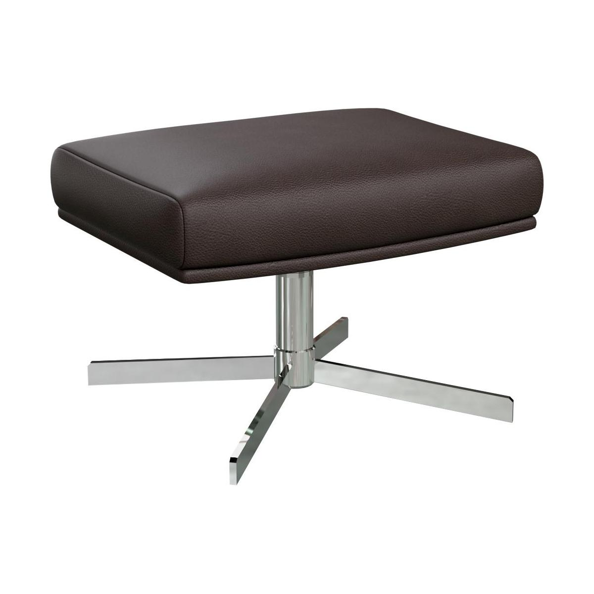 Footstool in Savoy semi-aniline leather, dark brown amaretto with metal cross leg