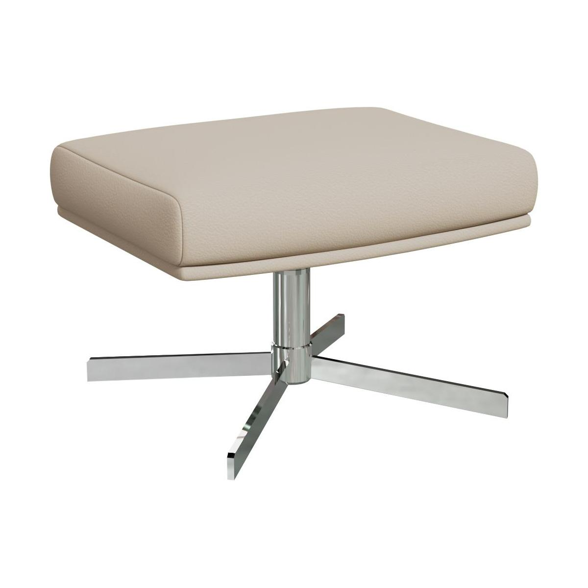 Footstool in Savoy semi-aniline leather, off white with metal cross leg