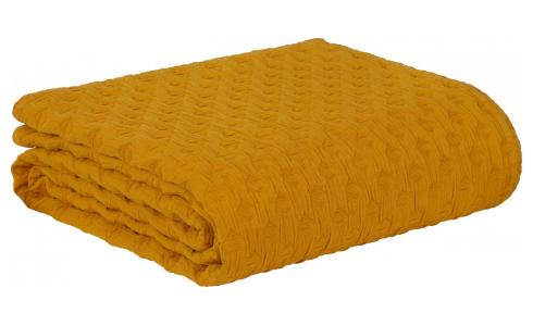 Washed Cotton Bedspread Yellow 230x260cm