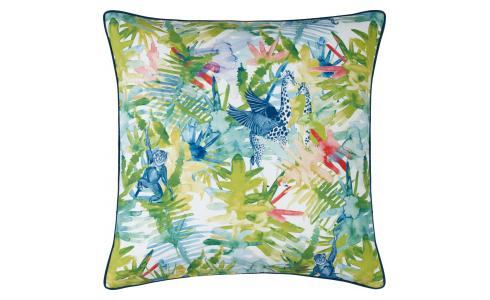 Multi-coloured Printed Cotton Cushion 50x50cm