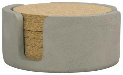 Cork Coasters x6 + Concrete Holder