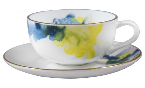 Luna Patterned Porcelain Tea Cup and Saucer