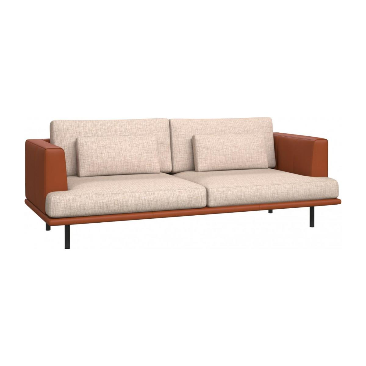 3 seater sofa in Ancio fabric, nature with base and armrests in brown leather n°1