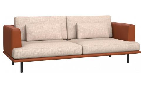 3 seater sofa in Ancio fabric, nature with base and armrests in brown leather