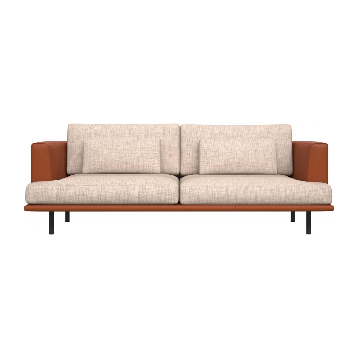 3 seater sofa in Ancio fabric, nature with base and armrests in brown leather n°3
