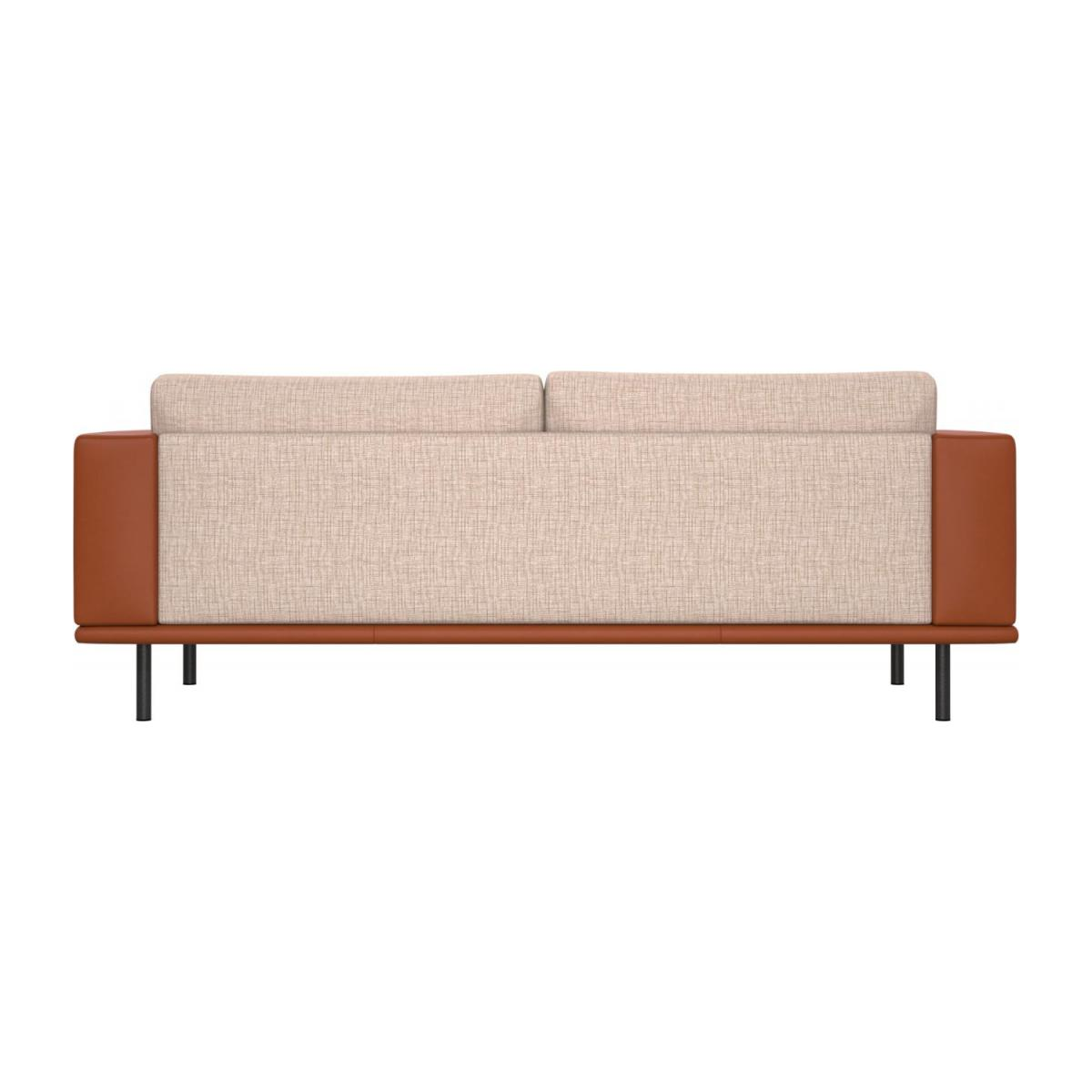 3 seater sofa in Ancio fabric, nature with base and armrests in brown leather n°4