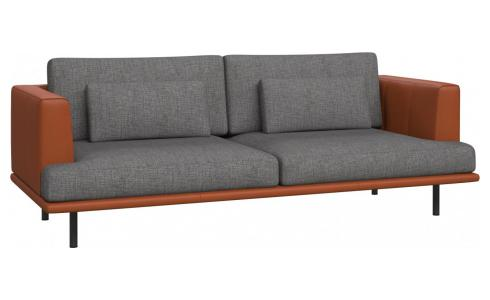 3 seater sofa in Ancio fabric, river rock with base and armrests in brown leather