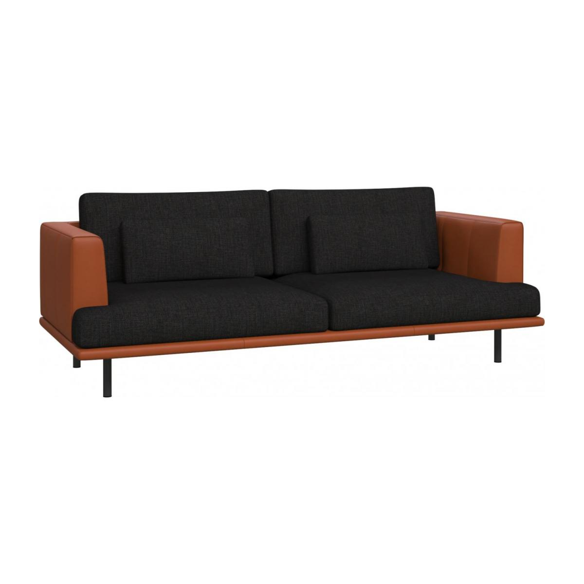 3 seater sofa in Ancio fabric, nero with base and armrests in brown leather n°1