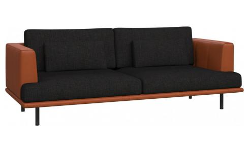 3 seater sofa in Ancio fabric, nero with base and armrests in brown leather