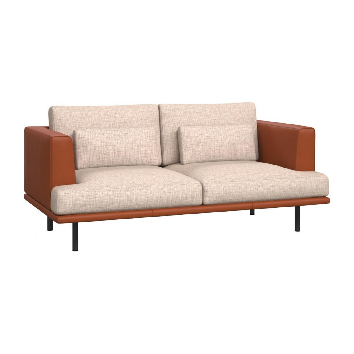 2 seater sofa in Ancio fabric, nature with base and armrests in brown leather n°1