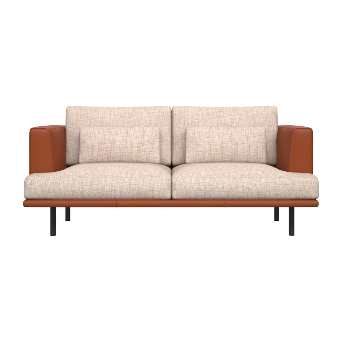 2 seater sofa in Ancio fabric, nature with base and armrests in brown leather n°2