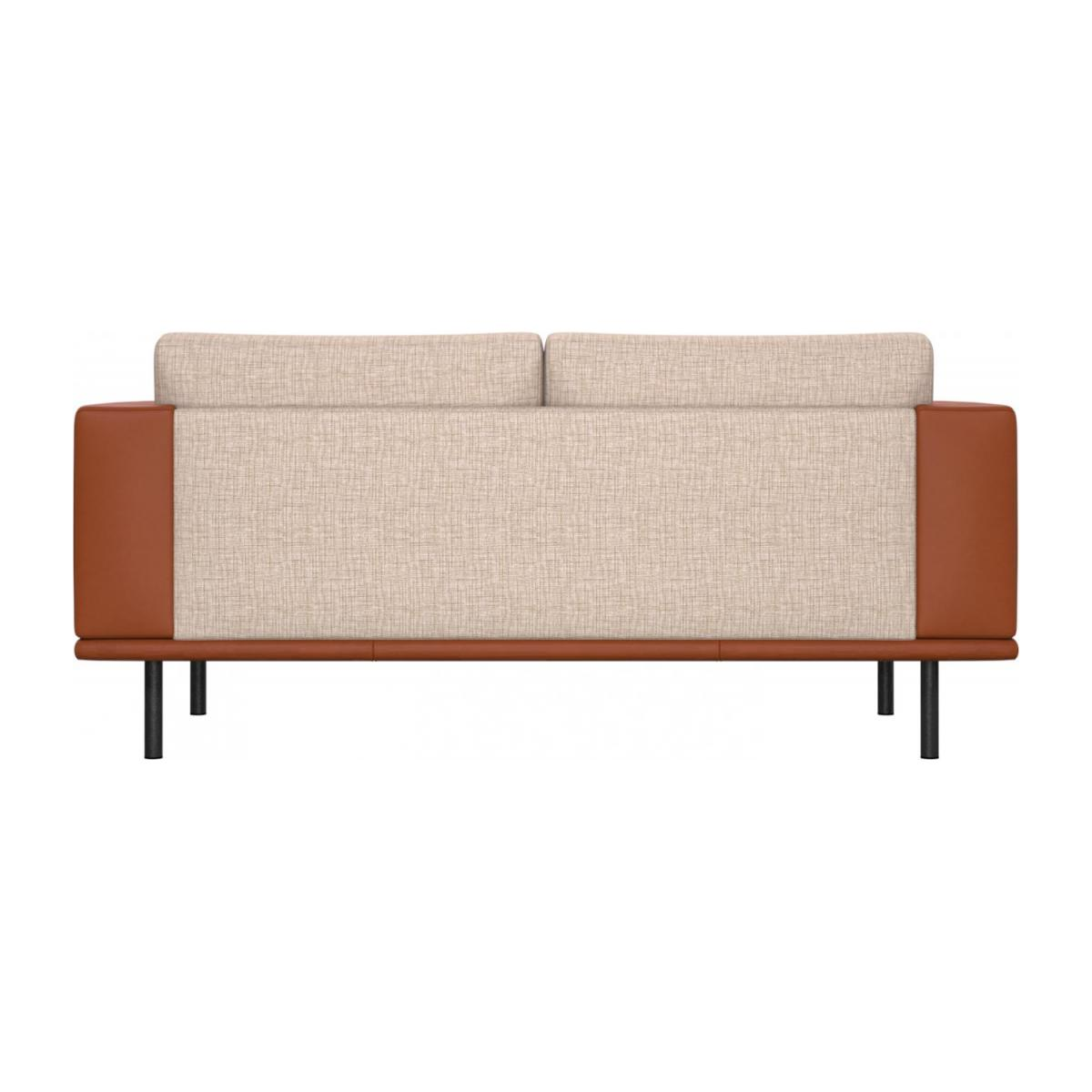 2 seater sofa in Ancio fabric, nature with base and armrests in brown leather n°3