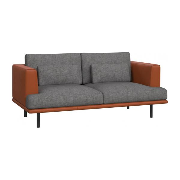 2 seater sofa in Ancio fabric, river rock with base and armrests in brown leather