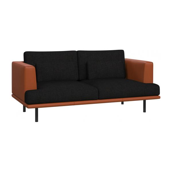 2 seater sofa in Ancio fabric, nero with base and armrests in brown leather