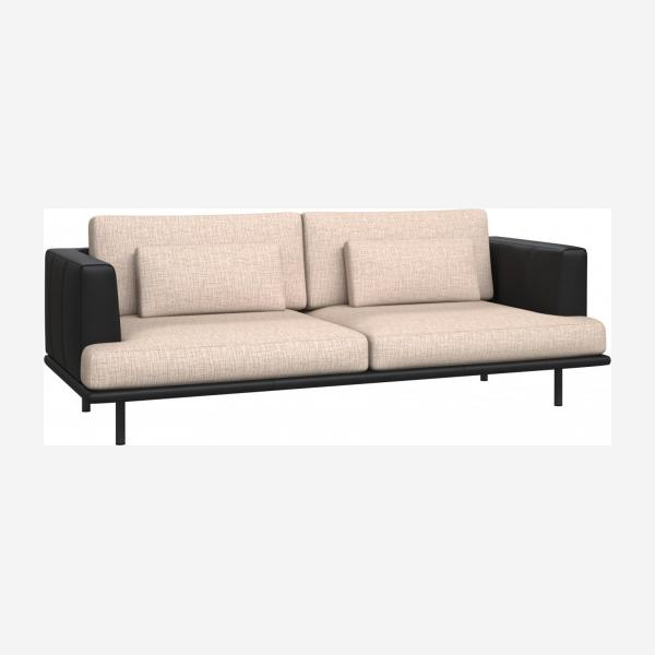 3 seater sofa in Ancio fabric, nature with base and armrests in black leather