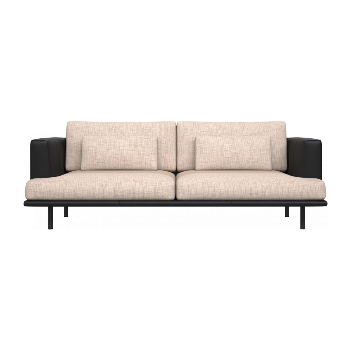3 seater sofa in Ancio fabric, nature with base and armrests in black leather n°2